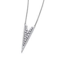 Deco Style Silver and CZ Lace Necklace
