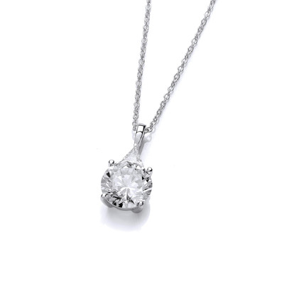 'Brilliant' Cubic Zirconia Solitaire Drop Necklace