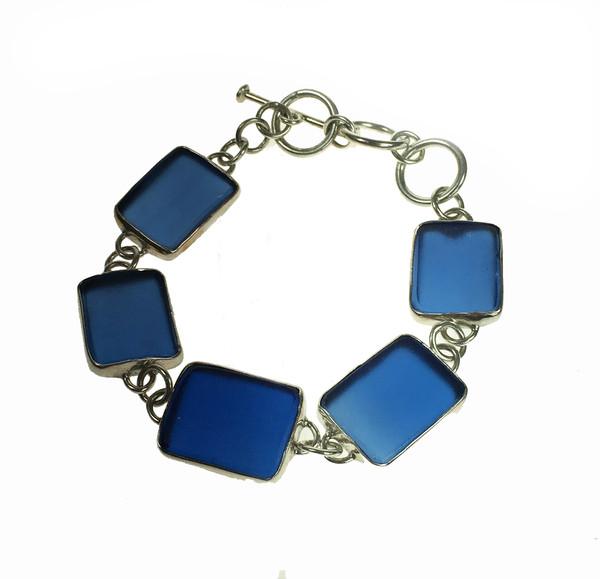 Silver And Blue Sea Glass Bracelet Cavendish French Limited