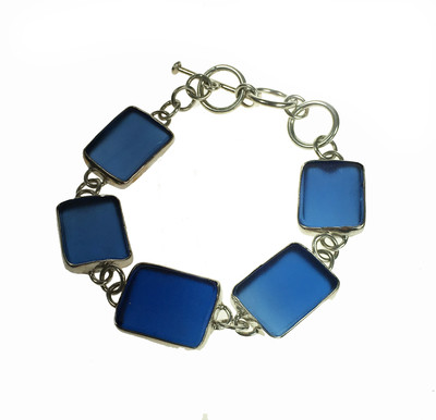 Silver and Blue Sea Glass Bracelet