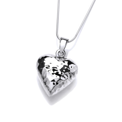 "Silver Beaten Heart Pendant with 16 - 18"" Silver Chain"