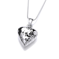 Silver Beaten Puffed Heart Pendant