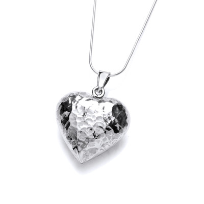 Sterling silver hammered puffed heart pendant without Chain
