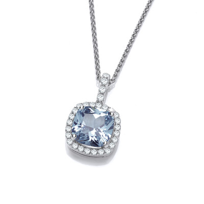 Silver and Aqua Cubic Zirconia Square Pillow Pendant