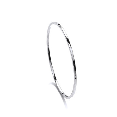 Fine Hammered Silver Bangle