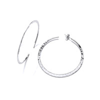 Large Wafer-Thin Hammered Silver Hoops