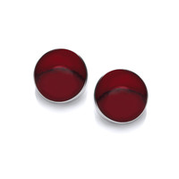 Sterling Silver and Formed Red Jasper Button Earrings