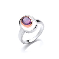 Silver and Amethyst CZ Rennie Mackintosh Style Ring