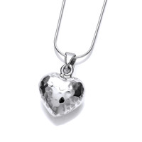 True Love Hammered Silver Heart Pendant