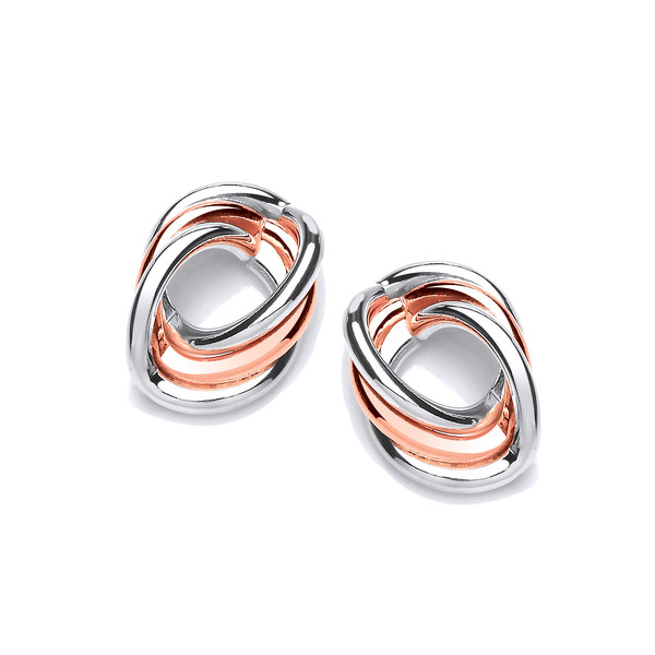 Silver and Copper Triple Oval Earrings