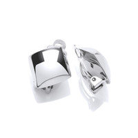 Silver Diamond Clip Earrings