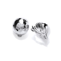 Hammered Silver Ball Clip Earrings