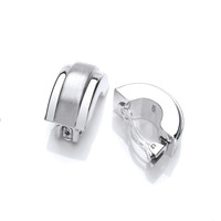 Silver Half Hoop and Satin Finish Clip Earrings