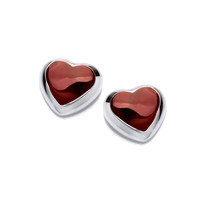 Silver and Little Red Love Heart Earrings