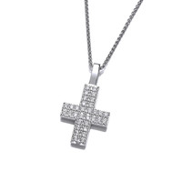 Silver and Cubic Zirconia Cross Pendant