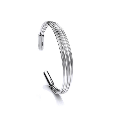Silver Strands Cuff Bangle