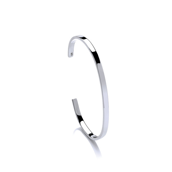Silver and Simple Cuff Bangle