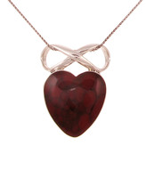 Sterling Silver and Formed Red Jasper Heart and Bow Pendant