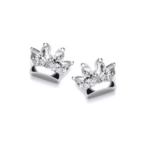 Silver and CZ Crown Earrings