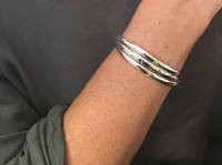 Hammered and Plain Silver Triple Cuff Bangle