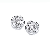 Silver and CZ Halo Flower Earrings