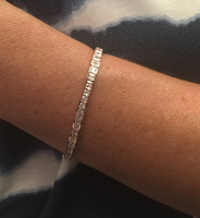Silver, Rose Gold and Square CZ Tennis Bracelet
