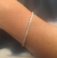 Silver, Rose Gold and CZ Circles Tennis Bracelet