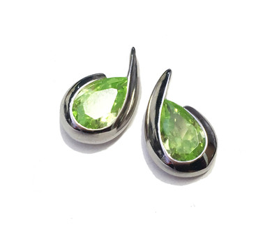 Silver & Peridot Cubic Zirconia Comma Earrings