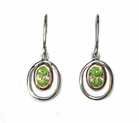 Silver and Peridot Green Cubic Zirconia Rennie Mackintosh Style Earrings