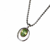 Silver and Peridot Green CZ Rennie Mackintosh Style Pendant