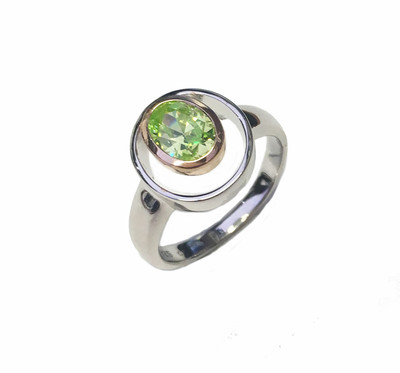 Silver and Peridot Green CZ Rennie Mackintosh Style Ring
