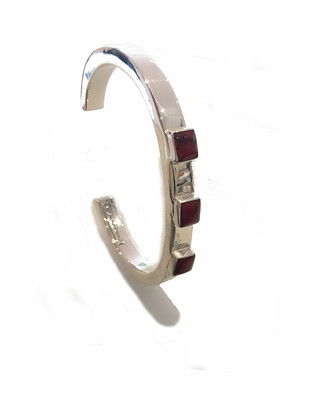 Silver and Red Jasper Squares Bangle
