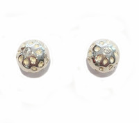 Sterling Silver Round Golf Ball Stud Earrings