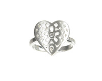Sterling Silver Filigree Heart Ring With Central CZ Stone
