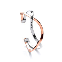 Sterling Silver and Copper Smile Cuff Bangle