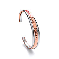 Sterling Silver and Copper Hammered and Shiny Cuff Bangle