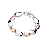 Sterling Silver and Copper Ovals Bracelet