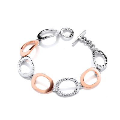 Sterling Silver and Copper Large Ovals Bracelet