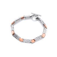 Sterling Silver and Copper Dot and Dash Bracelet