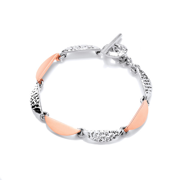 Sterling Silver and Copper Half Moons Bracelet