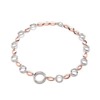 Sterling Silver and Copper Rings and Ovals Necklace