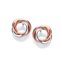 Sterling Silver and Copper Mini Wreath Earrings