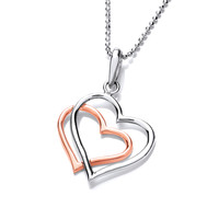 Sterling Silver and Copper Entwined Heart Pendant