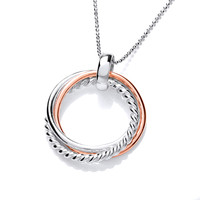 Sterling Silver and Copper Trio Ring Pendant