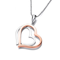 Sterling Silver and Copper Twin Heart Pendant