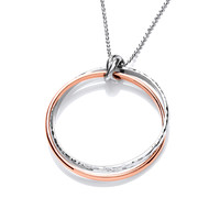 Sterling Silver and Copper Double Ring Pendant