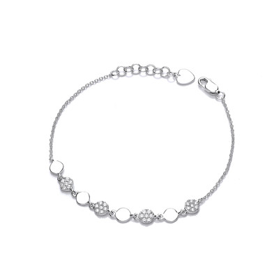 Silver and CZ Disco Bracelet