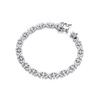 Silver and CZ Kiss Kiss Bracelet