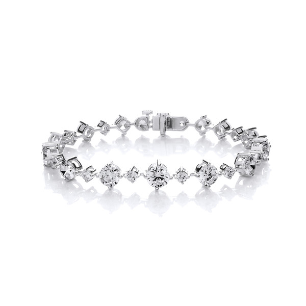 Silver and Cubic Zirconia Stunning Graduated Bracelet