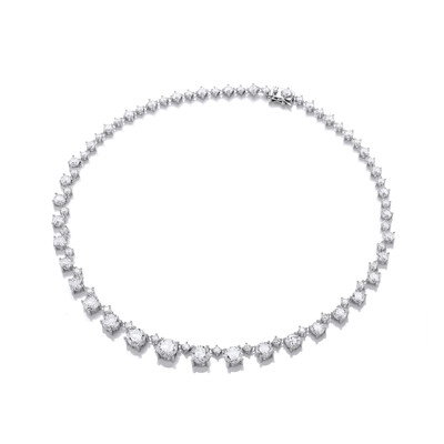 Silver and Cubic Zirconia Stunning Graduated Necklace